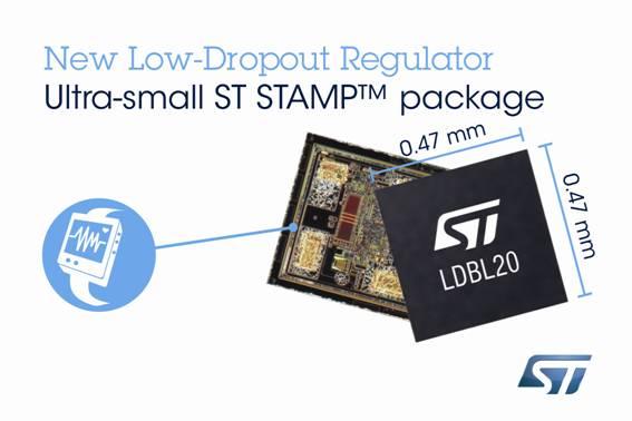 意法半导体新款的超薄低压降稳压器,采用突破性无凸点晶片级封装