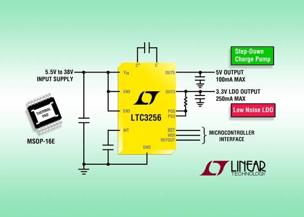 高压双输出降压型充电泵提供更低功耗且无需电感器