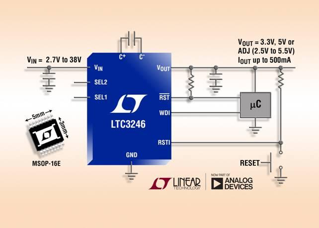 2.7V 至 38V/500mA 低噪声降压-升压型充电泵可节省空间并降低 EMI