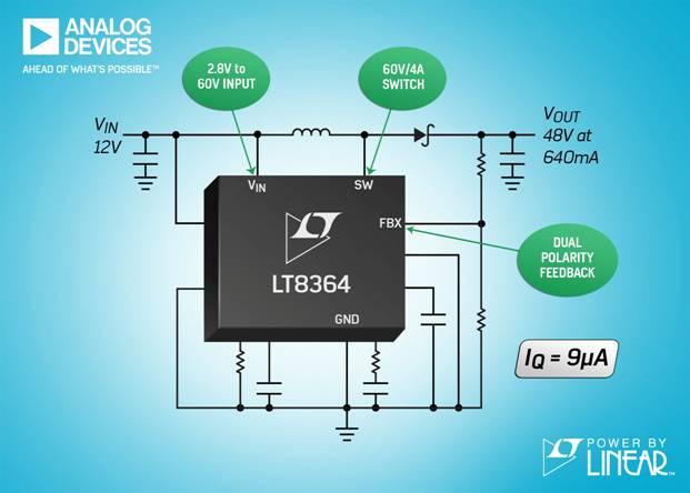ADI 的 2MHz 升压 / SEPIC / 负输出转换器具有 4A、60V 电源开关和 9µA IQ