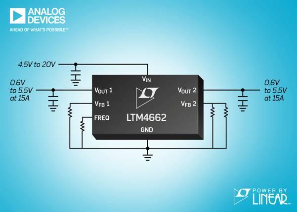 采用堆叠式电感器的双通道 15A 或单通道 30A µModule 稳压器具有 96% 峰值效率和卓越的热性能